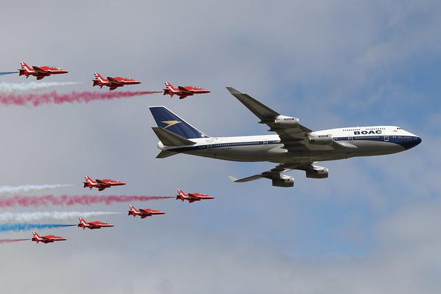 G-BYGC  -  Boeing 747-436  -  British Airways/Red Arrows Flypast at RIAT 2019 20/7/19