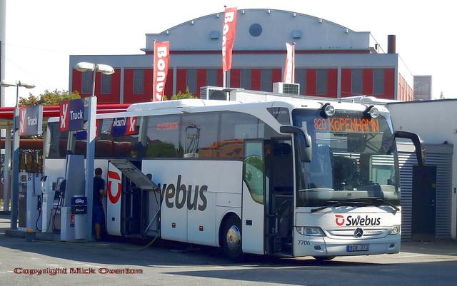 Swebus route 820 Mercedes Toursimo BCN373 Sweden refuels at its destination