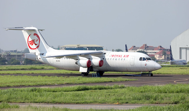 Royal Air Philippines BAe Avro RJ100 parked at CRK/RPL