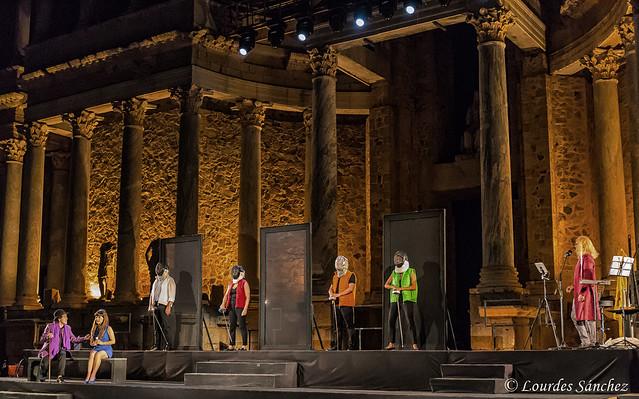Momento de la representación de 'Pericles, Príncipe de Tiro' en el 65 Festival Internacional de Teatro Clásico  de Mérida  (Obra de William Shakespeare, dirigida por Hernán Gené y en versión de Joaquín Espinosa)