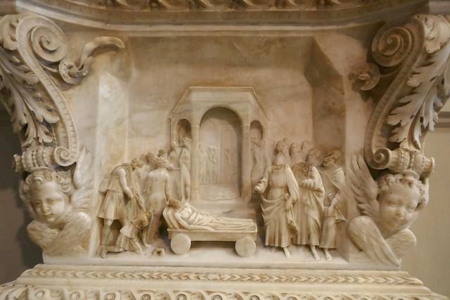 Bénitier 1553, école de Gagini, cathédrale Santa Vergine Maria Assunta (XIIe-XVe-XVIIIe), Palerme, Sicile, Italie.