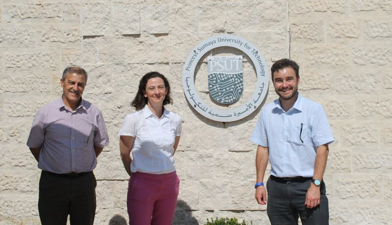 Andy Dunne and Emily Richards with Professor Omar Bani Ahmed, PSUT