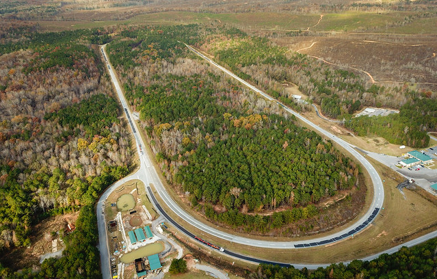 An aerial view of the 1.7 mile oval test track at the National Center for Asphalt Technology.