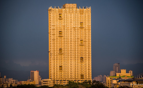 2019 cropped manila nikon nikond750 nikonfx tedmcgrath tedsphotos vignetting torre tower torremanila manilatower towermanila sunset highrise building buildings