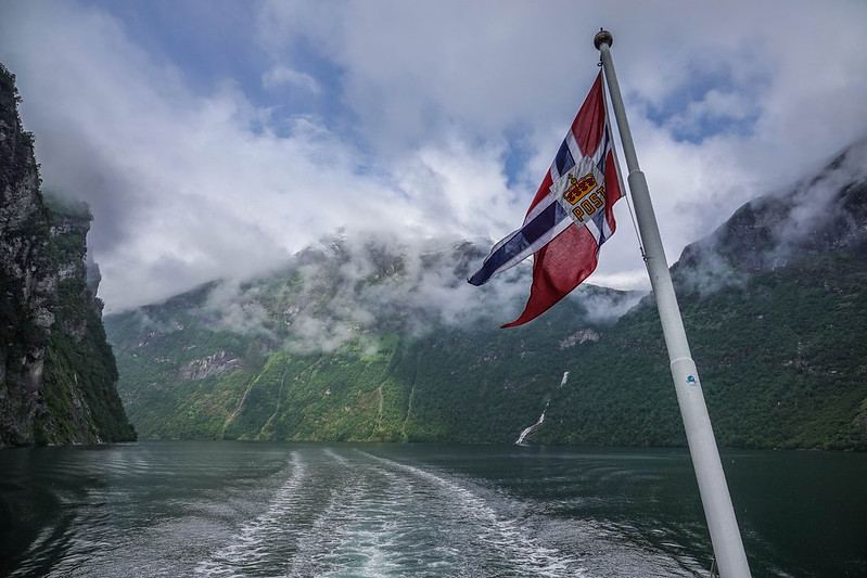 The flag and Geiranger fjord