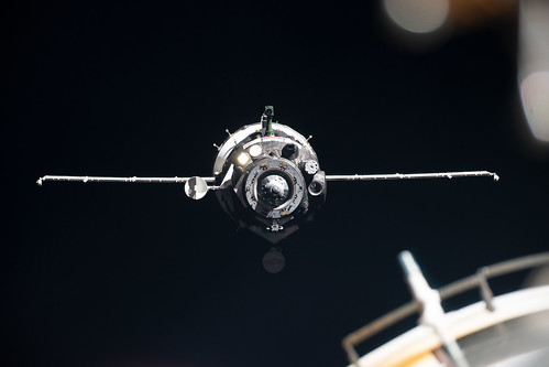 The Soyuz MS-13 crew ship approaches the International Space Station