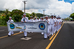 Sailors assigned to Submarine Squadron 15 march in formation during Guam's annual Liberation Day parade. (U.S. Navy/MC2 Kelsey J. Hockenberger)
