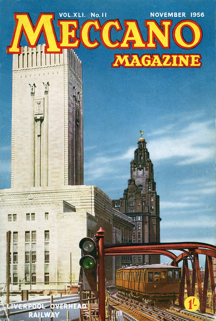 Meccano Magazine cover from November 1956 showing the Liverpool Overhead Railway