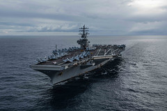 In this file photo, USS Ronald Reagan (CVN 76) transits the Coral Sea during exercise Talisman Sabre 2019. (U.S. Navy/MC2 Kaila V. Peters)