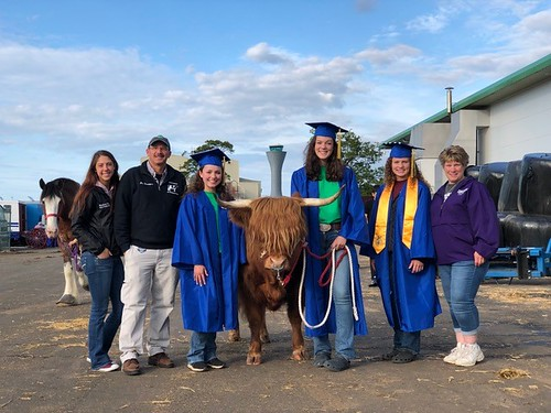 The 2018 Woodbury FFA State Champion Dairy Judging team on their return from a twelve-day tour of Scotland and Ireland. Left to right: Julia Wisniewski, coach Bill Davenport, Claire Delohery, Bramble, Taylor Wilkes, Hayley Gillette and parent Tara Wheeler.
