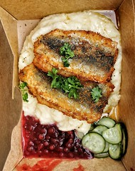 Herring, mashed potatoes, pickled cucumber and lingonberry jam.