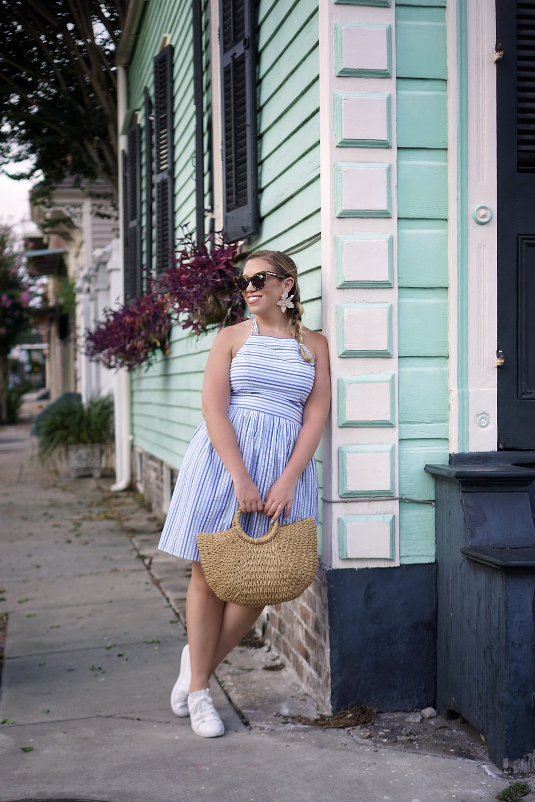 Blue Striped Seersucker Halter Top Dress | 6 Outfits You Can Actually Wear in New Orleans in the Summer | What to Wear in New Orleans in the Summer | New Orleans Packing List | Summer in New Orleans | Best Outfits to Wear in New Orleans | What I Packed for New Orleans