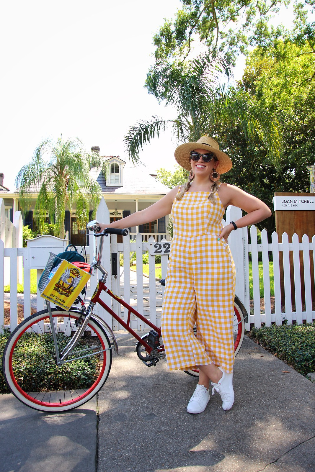 What to Wear on a Bike Tour | Old Navy Yellow Gingham Jumpsuit | 6 Outfits You Can Actually Wear in New Orleans in the Summer | What to Wear in New Orleans in the Summer | New Orleans Packing List | Summer in New Orleans | Best Outfits to Wear in New Orleans | What I Packed for New Orleans