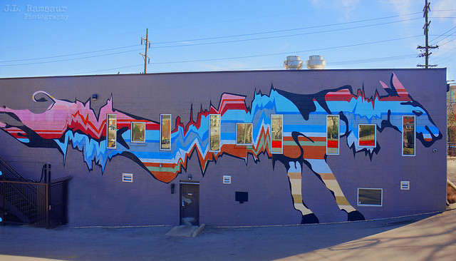 Colorful Cow mural - East Nashville, Tennessee