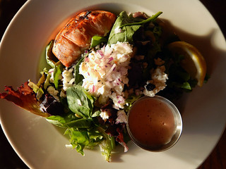 Salmon salad at the Wicklow Pub on Vancouver's Sea Wall, Canada