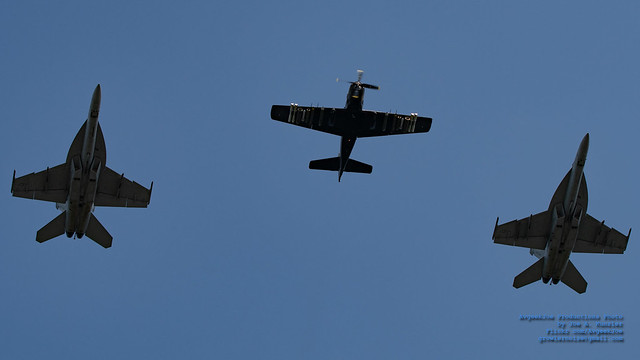 SKYRAIDER LEADING TWO FA-18E RHINOS IN THE BLUE YONDER