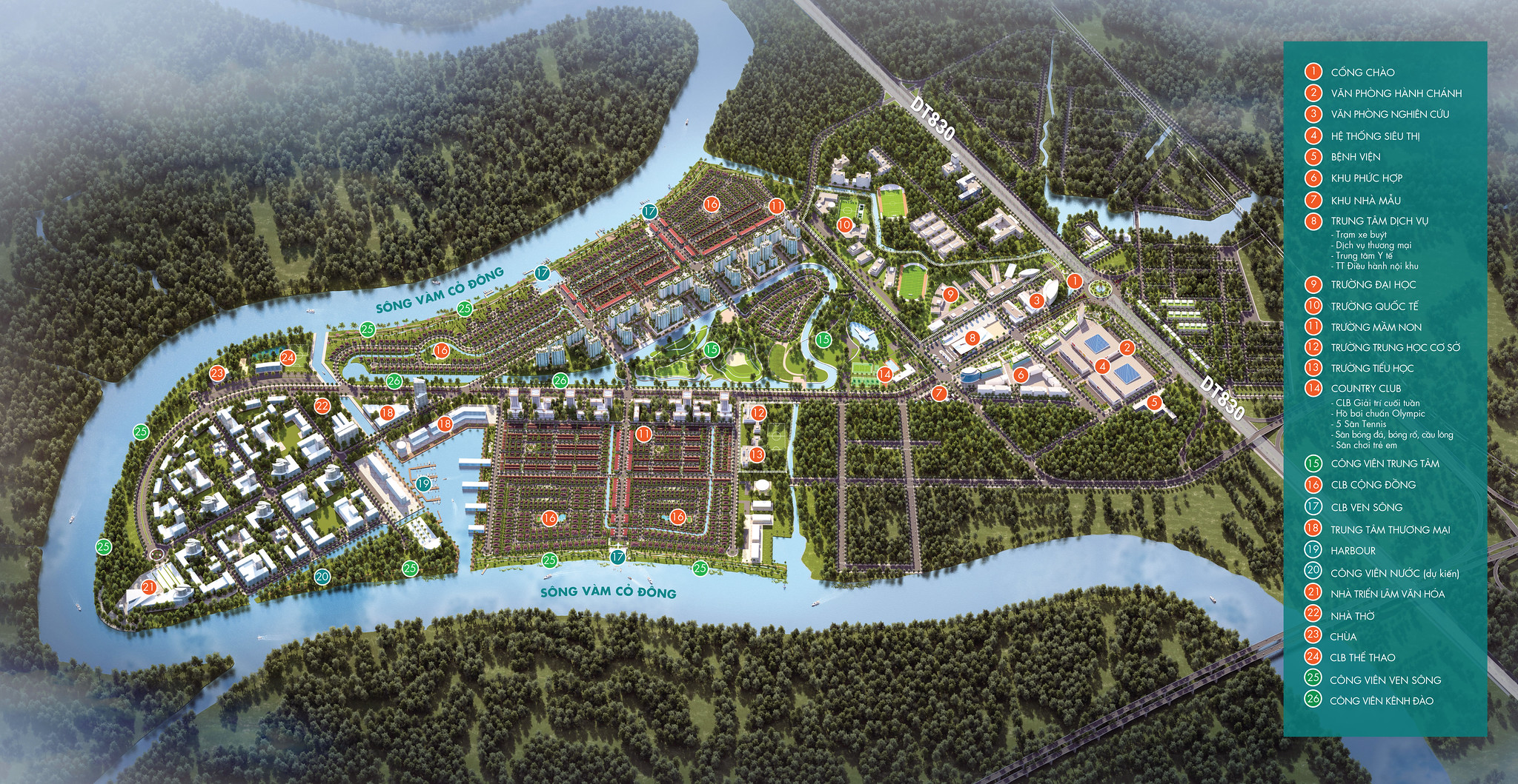 Master Plan Layout mặt bằng tiện ích chi tiết WaterPoint Nam Long