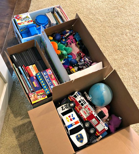 boxes of toys to purge