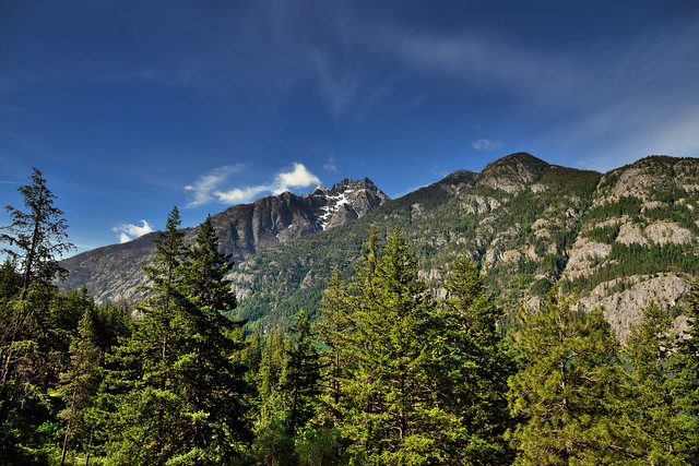A Wide Angle View of Mountain Peaks and Skies Above (North Cascades National Park Service Complex)