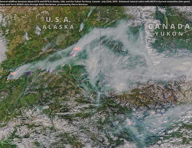 Several wildfires between about 62°N and 69°N in Alaska, USA, and the Yukon Territory, Canada - July 22nd, 2019