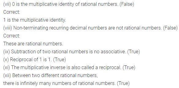 ICSE Understanding Mathematics Class 8 Solutions Chapter 1 Rational Numbers Objective Type Questions Q2.1