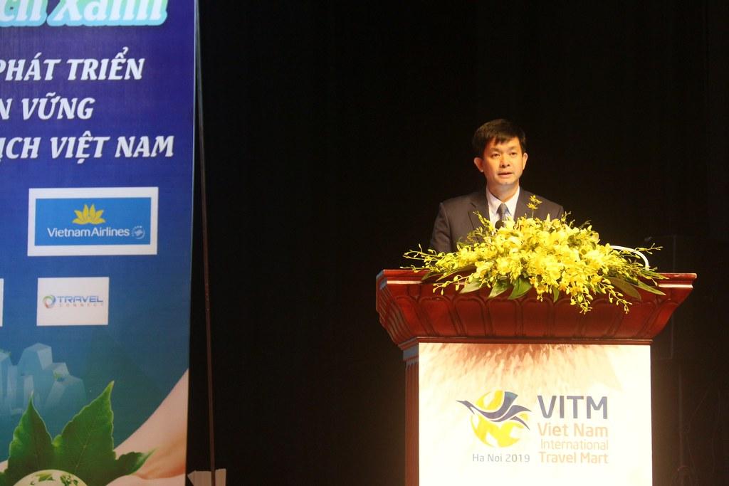 越南文化、體育與旅遊部次長黎光松(Lê Quang Tùng)在2019年越南國際旅遊博覽會發表。照片來源:越南人民報網