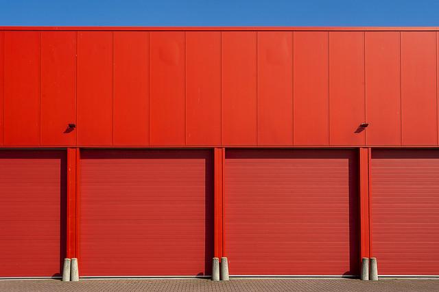 Four big red doors