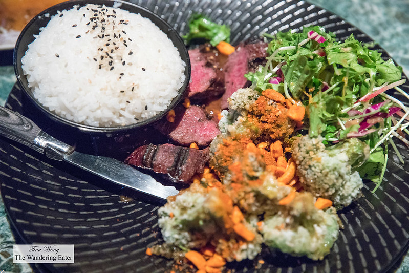 Seared skirt steak, tempura broccoli and watercress salad