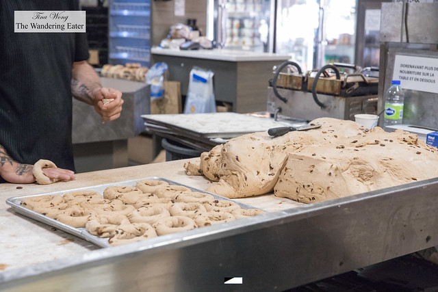 Rolling raisin cinnamon bagels