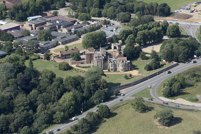 Hinchinbrooke House in Huntingdon - Cambridgeshire UK aerial image