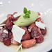 Strawberry salad, green alder pepper creme anglaise, cucmber sorbet