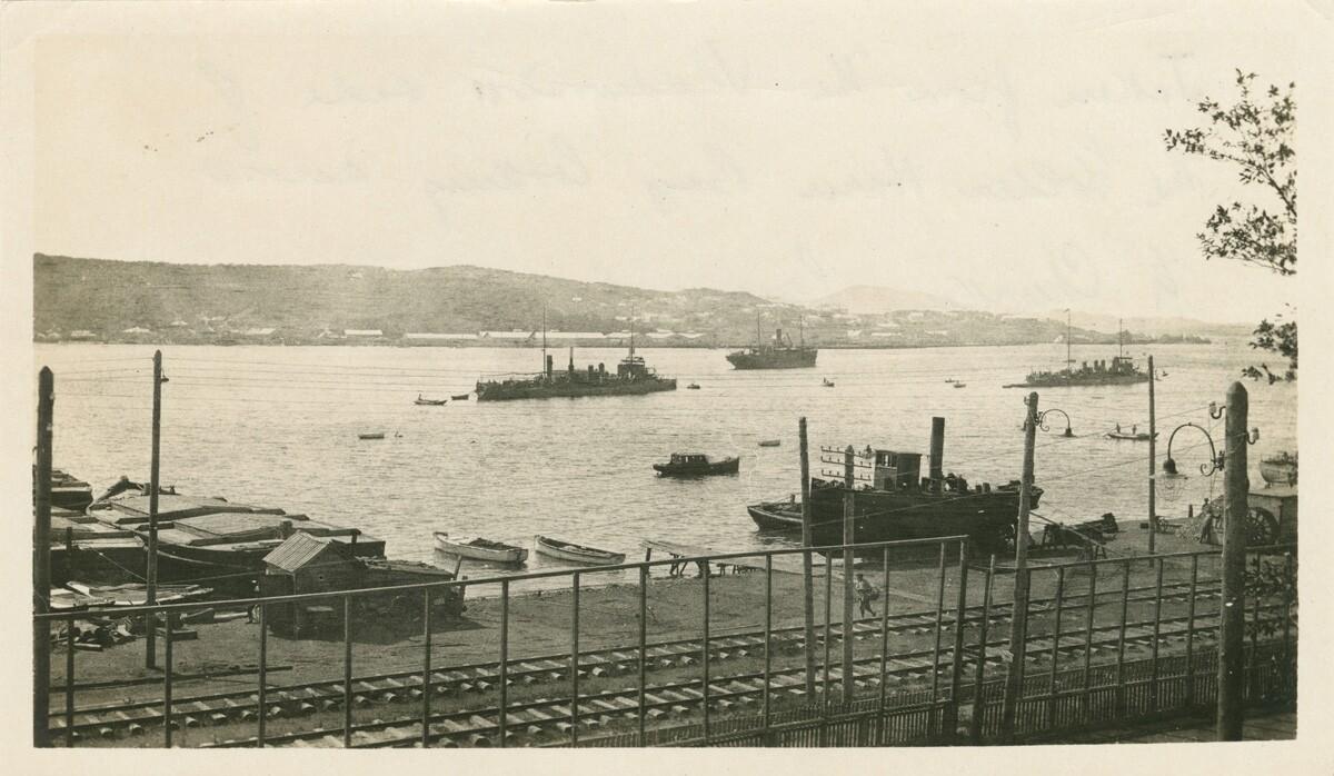 Взято с Владивостокской стороны бухты Золотой Рог с видом на Чуркинский полуостров