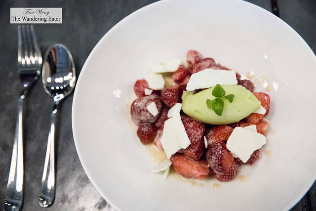 Strawberry salad, green alder pepper creme anglaise, cucmber sorbet