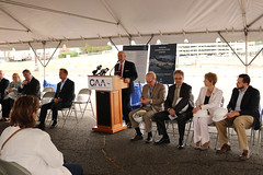 Reps. Davis and Zawistowski participate in a ground breaking ceremony for the new Bradley International Airport Ground Transportation Center
