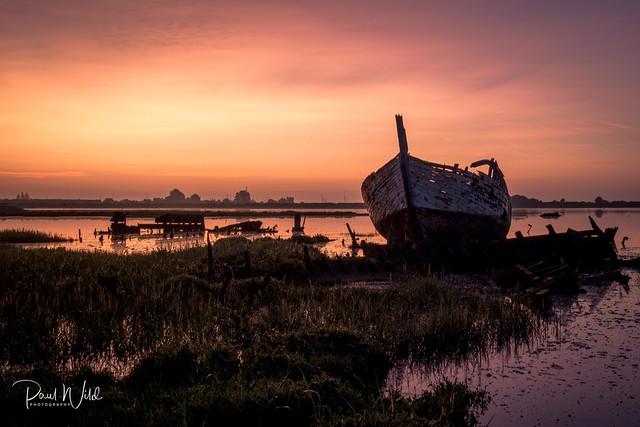 Sunrise at The Barge Graveyard