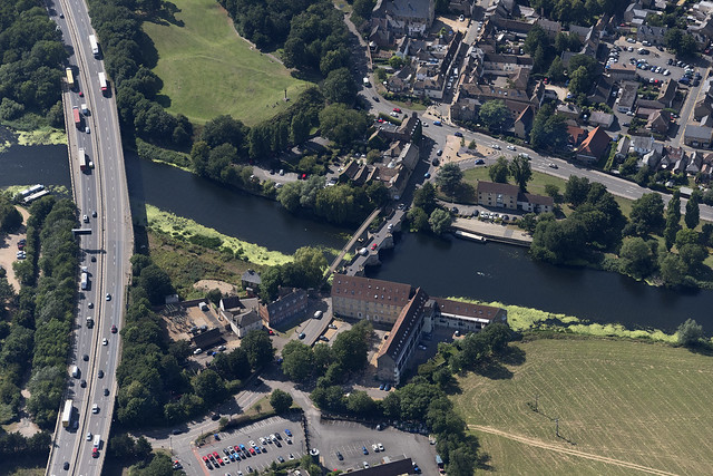 Aerial view of the Old Bridge and new bridge (A14)  crossing the river Great Ouse in Huntingdon - Cambridgeshire UK