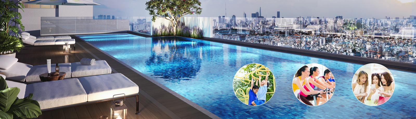 Hồ bơi tràn tại dự án M-One Gia Định.
