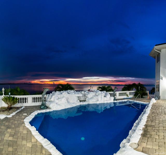 Dramatic Blue Hued Storm Cloud Over Gorgeous Tampa Bay Florida Dusk - IMRAN™