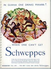 """""""in Guiana one drinks piwarri..."""" ; press advert issued by Schweppes, London, 1938"""