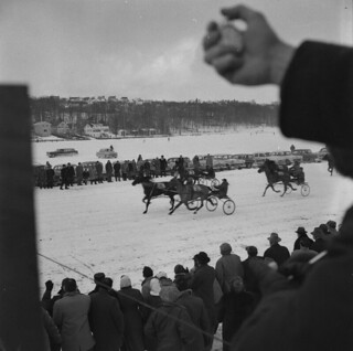 An ice-harness horse race / Course attelée sur glace