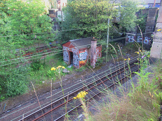 """40 minutes """"Railway"""" walk from home this evening.... around Strathbungo and Pollokshields - and photos of the newly repainted footbridge at the former Strathbungo station (closed in 1959)"""