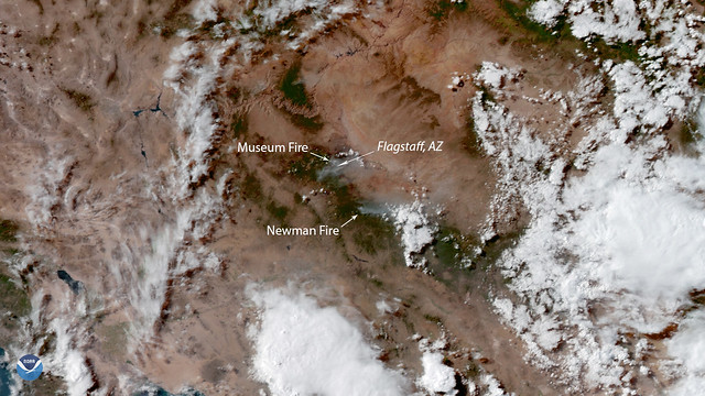 GOES West Observes Wildfires in Arizona