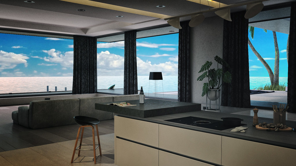 Island Residence by Abiss  // Kitchen & Living room - TeleportHub.com Live!