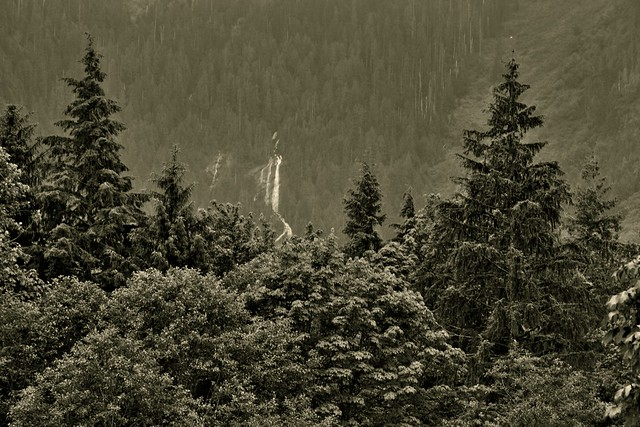 Bridal Veil Falls and a View of a Mountainside (Black & White)