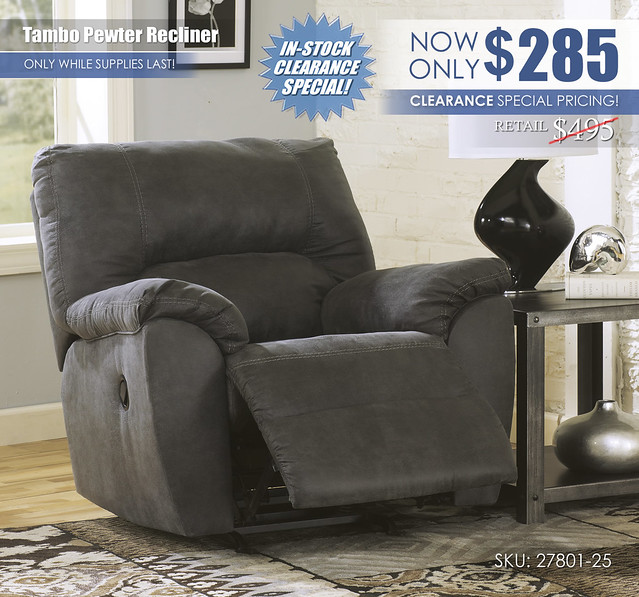 Tambo Pewter Rocker Recliner_27801-25-OPEN_Clearance_stamp