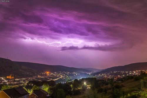 lightning night rhondda tonypandy wales storm valley clouds