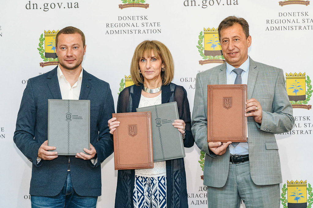 UNDP and newly appointed heads of Donetsk and Luhansk oblast administrations sign MoU, Kramatorsk, July 22, 2019