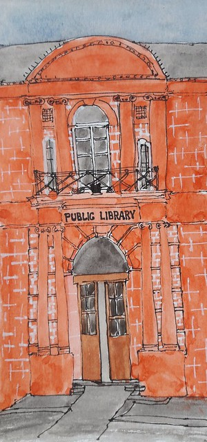 Public Library. Bethnal Green. London. Pen and watercolour on paper.
