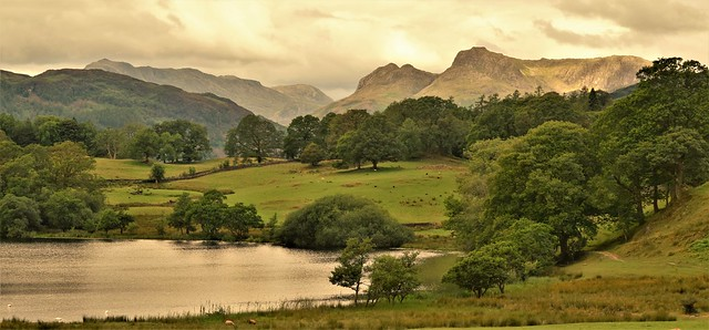 Gathering rain clouds over the Langdale Pikes, Cumbria, England