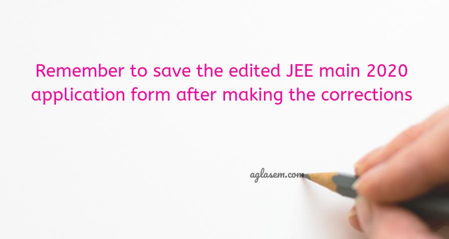 JEE Main 2020 Application Form Correction